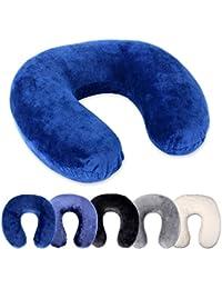 Schramm® Nackenkissen 5 Farben wählbar Reisekissen Nackenhörnchen orthopädisches Nackenstützkissen Memory-Schaum Travel Neck Pillow, Farbe:blau