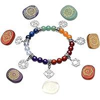 JOVIVI 7 Chakra Edelstein Oval Sanskrit Feng Shui Reiki-Energietherapie Steine Dekoration + OM Symbol Balance... preisvergleich bei billige-tabletten.eu