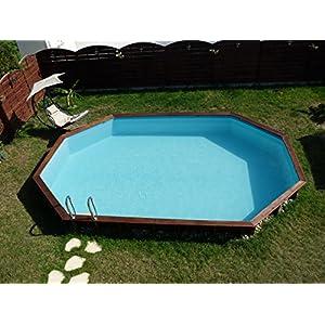 Gre 790086 Piscina con bordi Piscina esagonale 11200L Blu, Legno piscina fuori terra