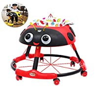 BBYYOP Foldable Baby Walker with Brake Stroller Walker with Toy And Putter Height Adjustment And Music Box Cartoon Pattern,Red