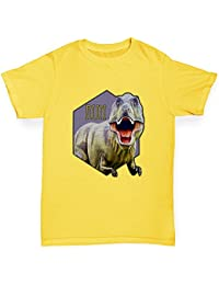 TWISTED ENVY Dinosaur Trex Run Boy's Printed Cotton T-Shirt, Comfortable and Soft Classic Tee With Unique Design