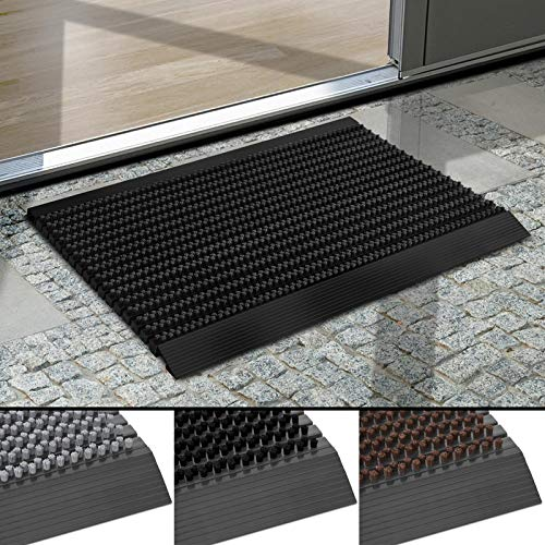 Floordirekt Fußmatte Power Brush - Testurteil Sehr Gut - Schmutzfangmatte mit Alu Rahmen für außen und innen - viele Farben & Größen (Schwarz, 60 x 90 cm)