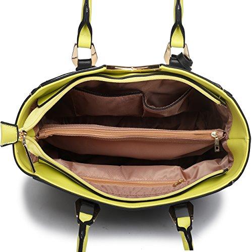 Miss Lulu Leather Look V-Shape Shoulder Handbag (Yellow)