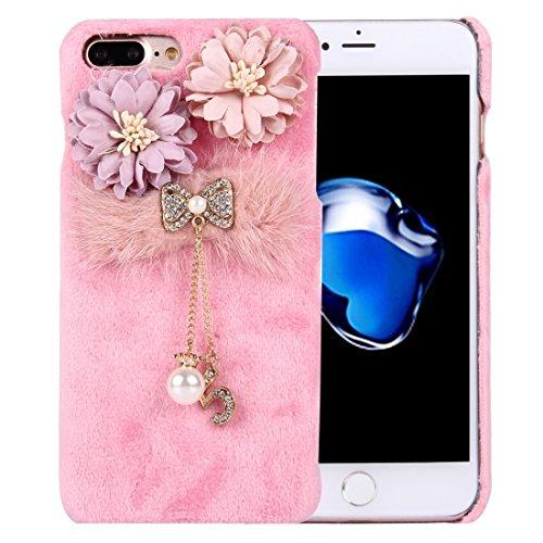 Casse del telefono mobile & Cover, Per iPhone 7 Custodia protettiva copertura del PC panno della peluche Inoltre Fiore 3D con catena pendente Diamante Encrusted Bowknot ( Colore : Rosa )