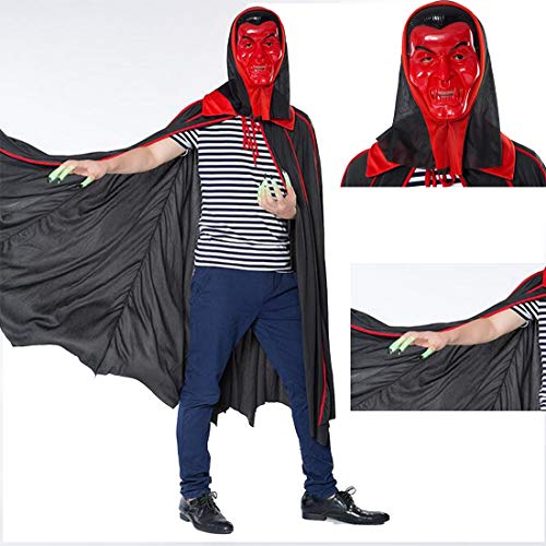 FLYA Halloween Dress Up Adult Zombie Umhang Zauberer Cape Vampir Umhang 1.2m,Red-OneSize