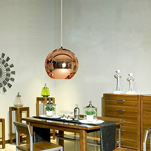 Modern Esstisch / Esszimmer / Pendelleuchte / Pendellampe / Hängelampe / Lampe / Leuchte Ball / Innenbeleuchtung / Wohnzimmer / Schlafzimmer Glas / Metall / Rund / Kugel / Kugelförmig /Rose Gold Schirm LED geeignet E27 Max. 1 x 60 Watt [Energieklasse A++] (Rose-eisen-bett)