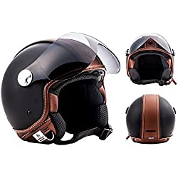 ARROW AV-84 Vintage Deluxe · Retro Urbano Mofa Chopper Helmet Casco Demi-Jet Vespa Moto motocicleta Scooter Vintage Piloto Bobber Urban Cruiser Biker · ECE certificado · incluyendo parasol · incluyendo bolsa de casco · Marrón · XL (61-62cm)