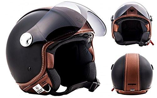 "Armor · AV-84 ""Vintage Deluxe"" · Casco Demi Jet · Piloto Scooter Helmet Motocicletta Moto Urbano · ECE certificato · Visor · Click-n-Secure™ Clip · Borsa per il trasporto · S (55-56cm)"
