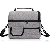 PuTwo - bolsa de almuerzo de gran capacidad con aislamiento, con correa, para el hombro, ajustable, tela, Gris, 24 x 22 x 16 cm