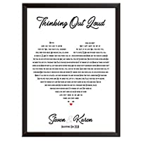 Framed Occasions Personalised Song Lyrics Wall Art Print Decor - ED SHEERAN - THINKING OUT LOUD - wedding, first dance, Christmas keepsake husband wife boyfriend girlfriend. Wall posters/picture