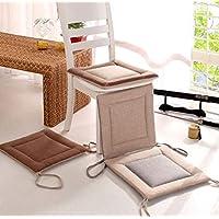 HoEOQeT Cojines Cuadrados de Lino Cojines para Estudiantes de Oficina Engrosamiento de Verano Cojines para sillas de Comedor de futón Tatami Transpirable (Color : Rice Side Gray Noodles)