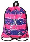 Aminata Kids - Kinder-Turnbeutel für Mädchen und Damen mit Fee-n Wand-deko Wand-Tattoo Blume-n Schmetterling-e Sport-Tasche-n Gym-Bag Sport-Beutel-Tasche rosa pink dunkel-blau Streifen