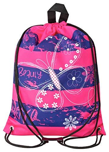 Aminata Kids - Kinder-Turnbeutel für Mädchen und Damen mit Fee-n Wand-deko Wand-Tattoo Blume-n Schmetterling-e Sport-Tasche-n Gym-Bag Sport-Beutel-Tasche rosa pink dunkel-blau ()