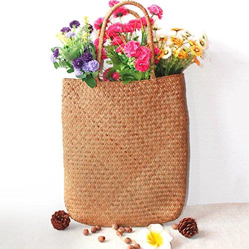 Tejida mano gran ratán flor cesta bolsa bolso compras