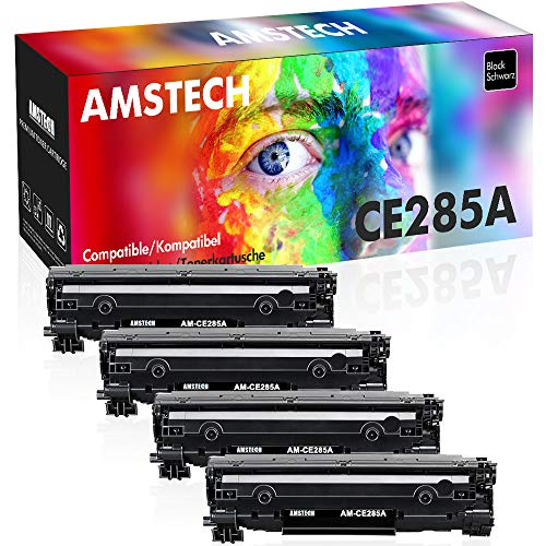 Amstech 4 Pack Kompatibel für HP CE285X 85X HP85A 85A 285A CE285A CE285AD für HP Laserjet Pro P1102w P1102 1102w m1212nf MFP Laserjet 1100 1200 Toner Schwarz Druckerpatrone M1217nfw M1132
