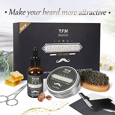 Beard Grooming Kit Gift Set, Y.F.M Mustache Grooming Gift Beard Care Set - 30 ml Beard Oil, 60 ml Beard Balm, Beard Brush, Beard Comb, Stainless Barber Scissors - Best Gift for Christmas & New Year
