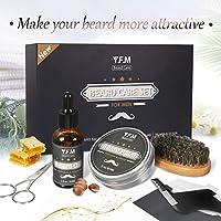 Cuidado de Barba Kit Y.F.M - Aceite, Bálsamo, Cepillo, Peine, Tijera - Juego de regalo perfecto para hombres