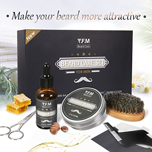 Hochwertiges Bartpflege Set von Y.F.M 30ml Bartöl + Bartbalsam 60ml + Bartkamm + Bartschere + Bartbürste bestes Geschenk für Männer fuer Vatertag