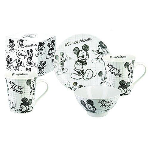 CARBOMBONIERE Juego de 3 piezas de porcelana de Walt Disney - Colección: Mickey Sketch - Color blanco/negro - Q053400
