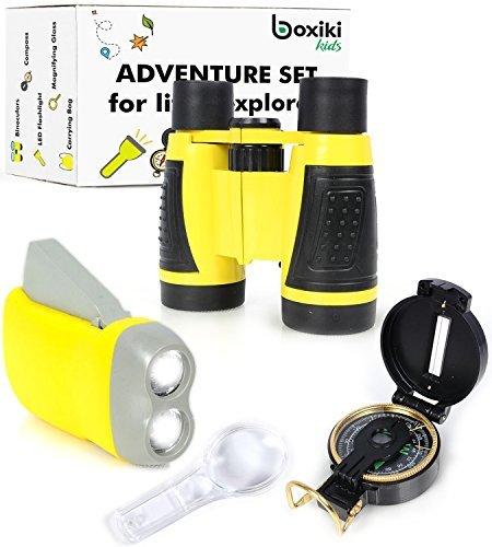(Abenteuer spielzeuge zur Natur-erforschung| 5 teiliges Abenteuer-Set für draußen | Kompass, Lupe, Taschenlampe, Rucksack & Fernglas für Kinder | Lehrreiche Spielzeuge für draußen, für Jungen & Mädchen)