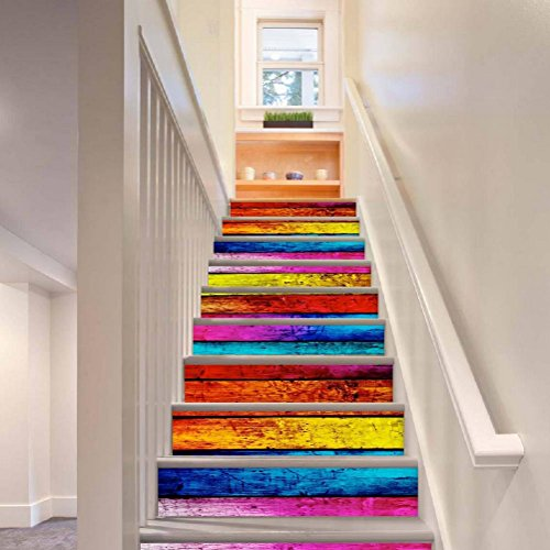 IY Treppen Aufkleber Simulation Holzmaserung Mehrfarbig HD Wandmalerei Selbstklebend Abziehbilder Kinderzimmer PVC Wasserdicht Tapete , 1 Set 6 pcs , 100*18cm (Hd Halloween Tapete)