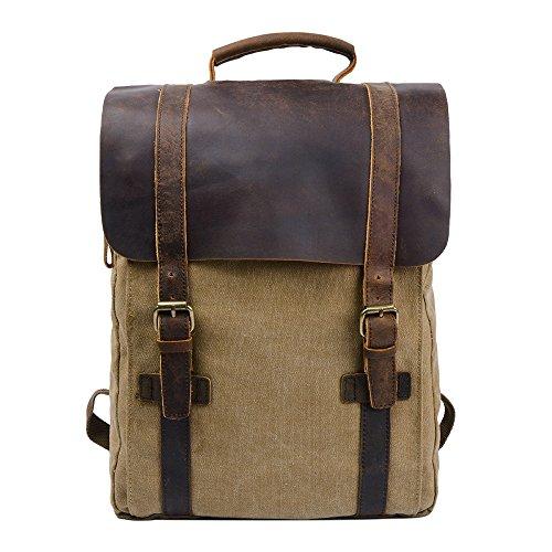 S-ZONE Fashion Segeltuch Leder Canvas Vintage-Stil Unisex Junge Reisetasche Wandertasche 15 inch Laptop Rucksack für Studenten Freizeit (Khaki)