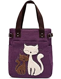 Generic Red : Canvas Cat Handbag Women Casual Simplified Style Tote Elegant Tote Bag Ladies Appliques Shopping...