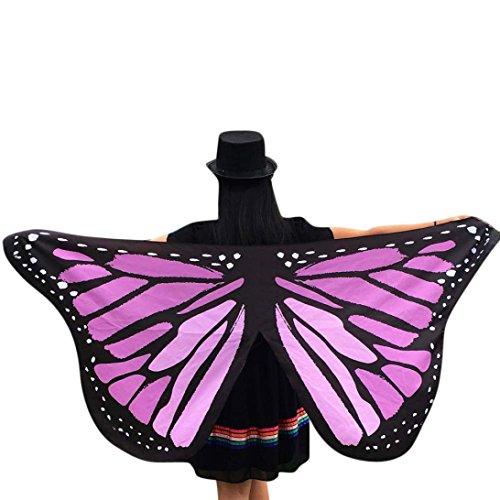Beikoard Damen Schmetterlings Kostüm, Frauen 145 * 65CM Weiche Gewebe Schmetterlings Flügel Schal feenhafte Damen Nymphe Pixie Kostüm Halloween Partei Cosplay Accessoire (Violett ()