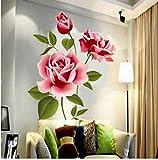 ZBYLL Pegatinas De Pared Amor Romántico 3D Rose Florales Muebles Decoración Salón TV Wall Sticker Art Adhesivo para La Decoración del Hogar