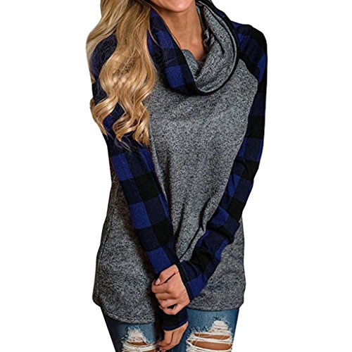 ZIYOU Damen Rollkragen Pullover Plaid, Herbst Winter Frau Freizeit Langarm Sweatshirt Pulli Outwear T-Shirt Tops (Blau, L) (Plaid L/s Shirt Blau)