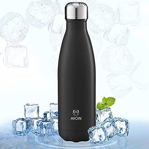 Avoin, Botella Deportiva de Aluminio Inoxidable y Doble Pared con Aislamiento al Vacío - Color Negro