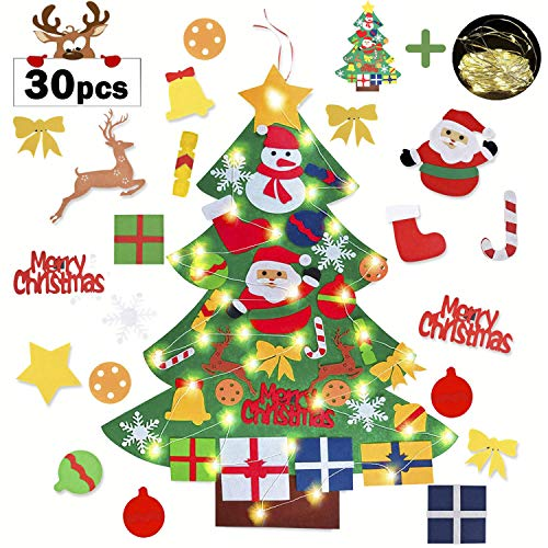 Iindes Albero di Natale in Feltro per Bambini Eco-Friendly Albero Natale Feltro Decorazione Parete Giocattolo educativo Fai da Te con 50 LED Catene Luminose Regali Natale Nuovo Anno dei Bamb