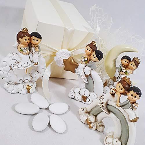 Aprifesta bomboniera originale per matrimonio statuette sposini sole luna stella arcobaleno eleganti anniversario (bomboniera confezionata)
