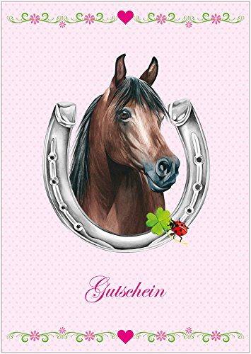 Erhältlich im 1er 4er 8er Set: Gutschein zum Kinder Geburtstag Glückwunschkarte Geschenkgutschein mit einem Pferd, Hufeisen, Kleeblatt, Glückskäfer und Herzchen in Rosa. (Mit Umschlag) (1)