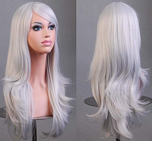 -hohe Temperatur-Silk realistische Perücke stellt Cosplay Perücke ein Anime-Farbe lange lockige Haar-Perücken volle Perücken mit schrägem Knall-täglichem Salon-Party-Perücken , Silver gray (Kurze Einführung Von Halloween)