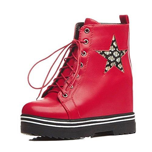 VogueZone009 Damen Gemischte Farbe Hoher Absatz Rund Zehe Schnüren Stiefel mit Knoten, Weiß, 43