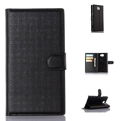 Coque Pour BlackBerry Priv 95street Slim Folio PU Cuir Debout Fonction Housse Coque Étui Couverture pour BlackBerry Priv, Noir