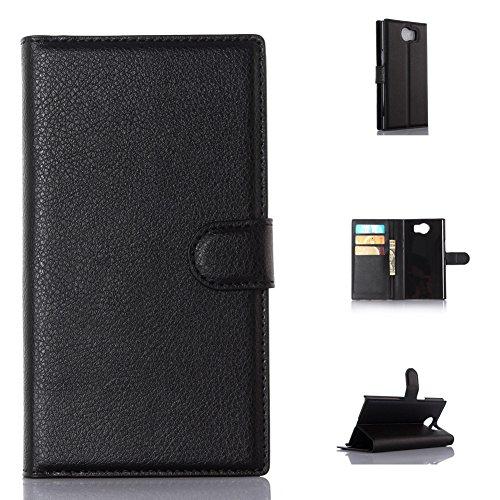 BlackBerry Priv Handyhülle Book Case BlackBerry Priv Hülle Klapphülle Tasche im Retro Wallet Design mit Praktischer Aufstellfunktion - Etui Schwarz