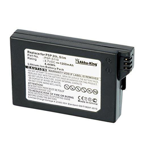 Akku-King Akku ersetzt Sony PSP-S110 - Li-Ion 1200mAh - für PlayStation Portable Lite, Slim & Lite PSP2000, PSP 3000 Brite, PSP3004 (2. Generation)