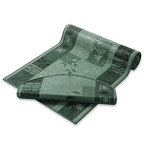 casa pura® Non-Slip Carpet Floor Runner, Floral Design - Green | Over 50 Sizes | Matching Stair Treads Avail. (67 x 250