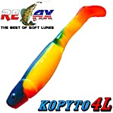 "Relax Kopyto 4L 4"" Classic Gummifisch 11cm Farbe Gelb Dunkelblau RT 5 Stück im Set!"