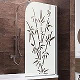 Schulte Duschwand Berlin, 80x140 cm, 5 mm Sicherheitsglas Bamboo, alu-natur, Duschabtrennung für Badewanne