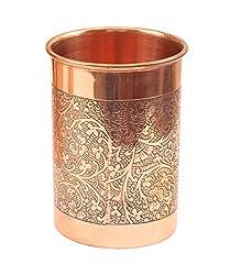 IndianArtVilla Designer Copper Glass Tumbler |300 ML| Used as Drinkware Good Health Benefits Yoga Ayurveda