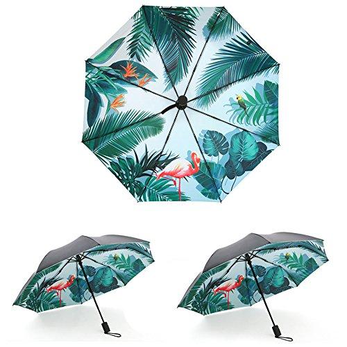 Taschenschirm Regenschirm mit automatischem Knopf, Faltbar Kompakt Vinyl Sonnenschirm UV-Schutz Winddicht Regenschirm, Leicht & Kompakt , Blatt Flamingos Damen Mode Design