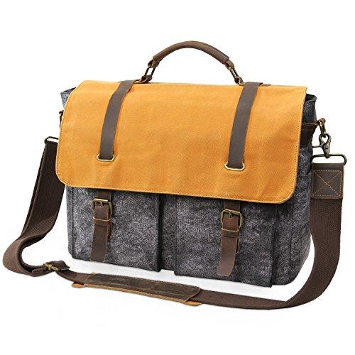 Lifewit Umhängetasche Herren Messenger Bag Wasserdicht Herrentasche Ledertasche Männer Aktentasche Schultertasche Vintage aus Leder und gewachste Canvas für 15 Zoll Laptop (Grau)