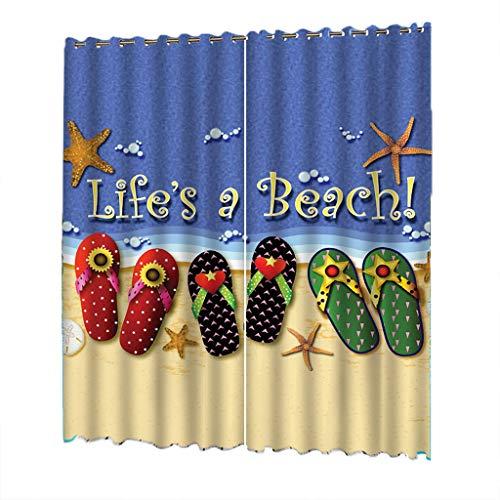 De OpacaWeblaSerie Multicolor Schlafzimmer OpacasPoliéster Cortina Impresas Playa Cortinas 132x245cm EHI2WD9Y