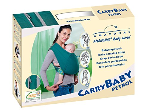 AMAZONAS Babytrage CarryBaby Petrol Bauchtrage 2 Schlaufen stressfrei ohne Knoten 4 Monate - 3 Jahre bis 15 kg - 7