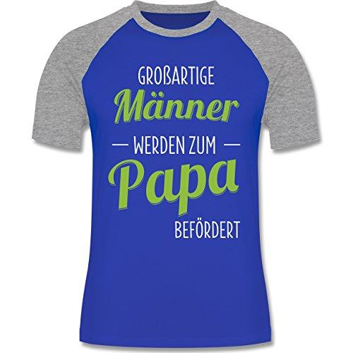 Vatertag - Großartige Männer werden zum Papa befördert - zweifarbiges Baseballshirt für Männer Royalblau/Grau meliert