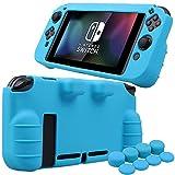 Pandaren silicona Empuñadura Protector funda protectora para Nintendo Switch consola(azul) + Joycon empuñaduras de pulgar thumb grips x 8