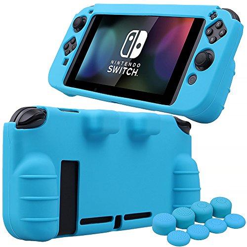 Pandaren® Silikon Handgriff Schutz Fall Abdeckung Skin Hülle für Nintendo Switch konsole(blau) + Joycon aufsätze thumb grips x 8